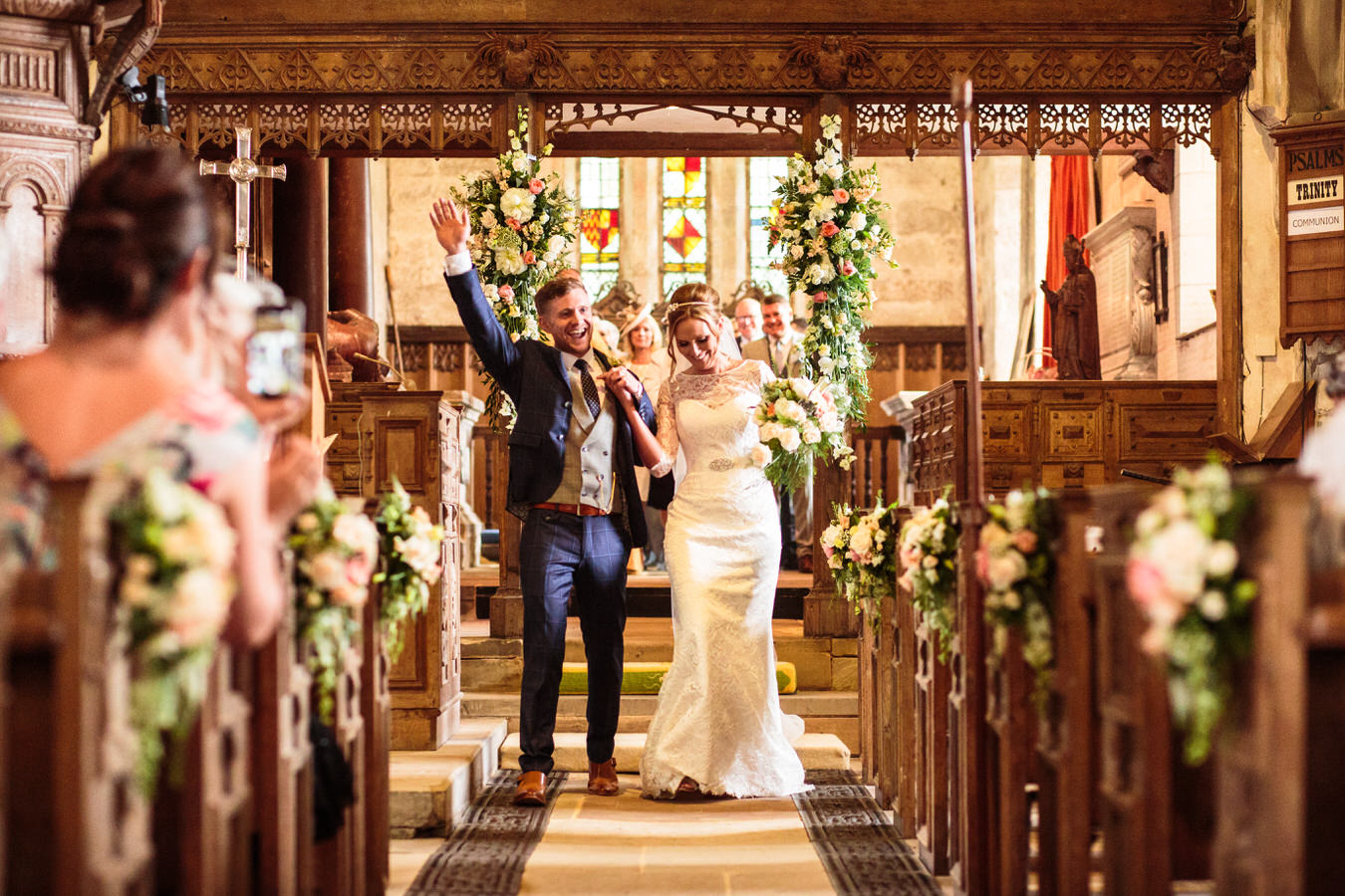 Flowers for church during the wedding ceremony by Staffordshire Florist in Rugeley by Rugeley Floral Studio Fine Flowers