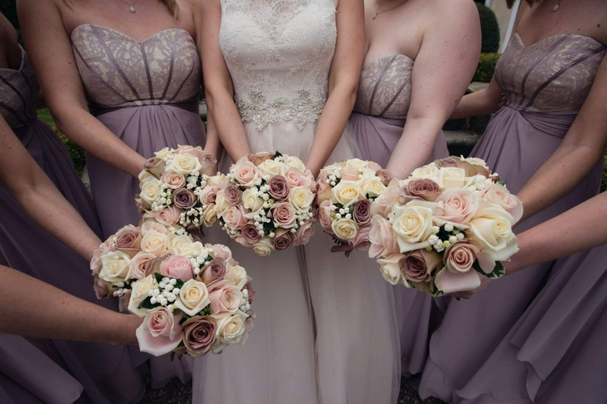 Handtied bridal bouquets lovingly created by Rugeley Florist Fine Flowers