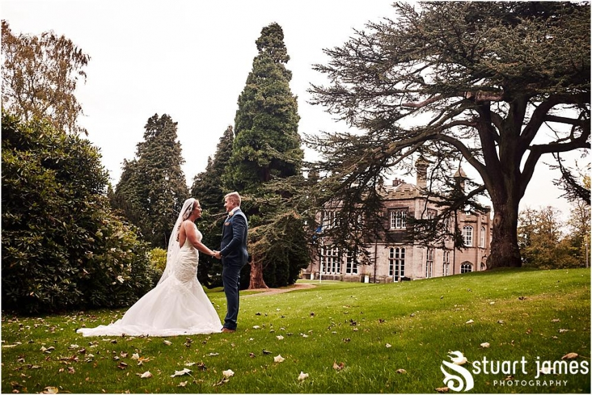 Utilising the most stunning setting of the feature grounds at Hawkesyard Estate in Rugeley by Documentary Wedding Photographer Stuart James