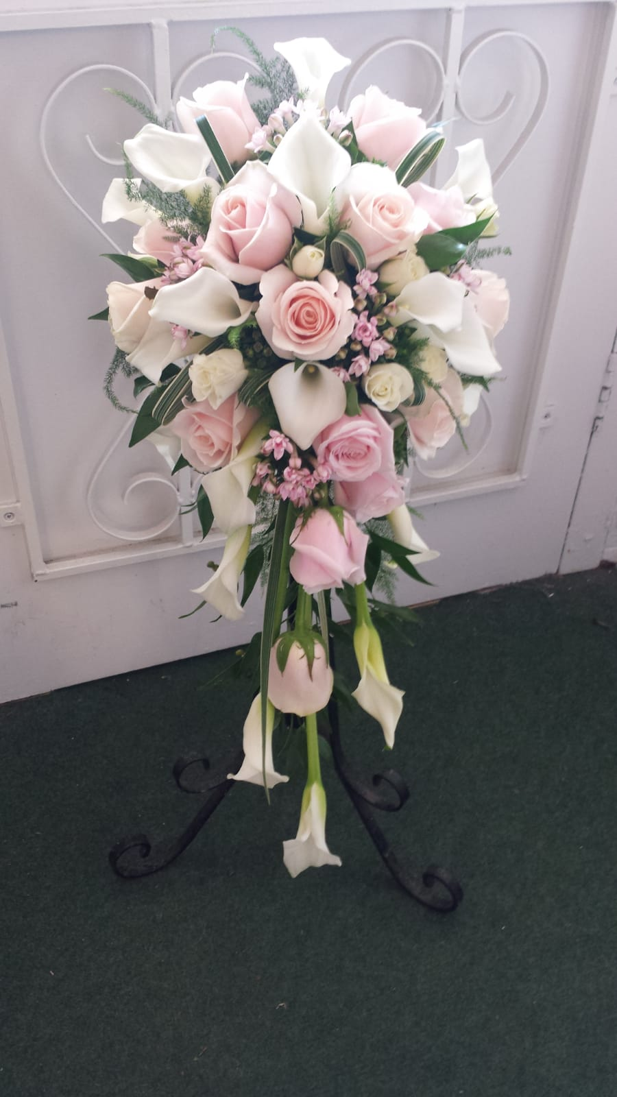 Timeless and elegant bridal handshower bouquet wedding flowers by Rugeley Florist - Rugeley Floral Studio Fine Flowers