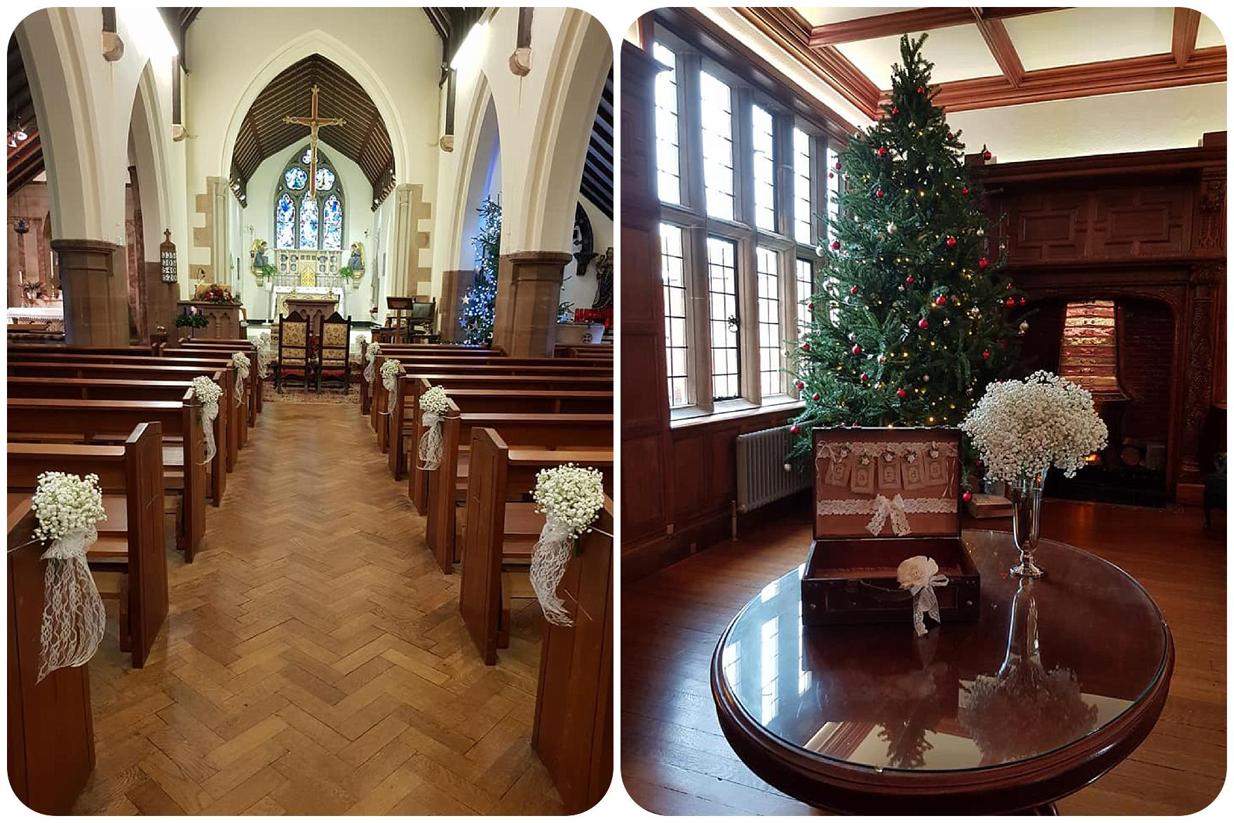 Pendrell Hall Christmas Wedding Flowers by Dream Team Florist in Rugeley by Rugeley Floral Studio Fine Flowers