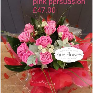 12 Pink Aqua Roses, with mixed foliages Handtied. Presented in water, boxed.
