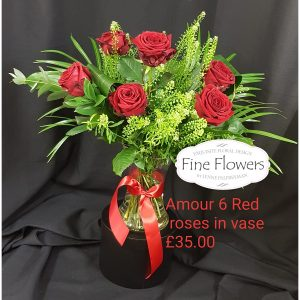 1/2 Dozen Red Roses in a Vase, with mixed foliages.