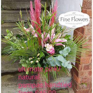 Large hand-tied, with either pink or natural pampas grass, lily, scabious, alstroemeria, lisianthus, lots of lovely mixed foliages. Pampas can be used in a vase afterward as a keepsake. The vase in the picture is not included. The hand-tied will be wrapped with kraft paper and a raffia bow.