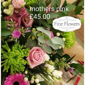 Handtied wrap of green blooms, lisianthus, phlox, pink gerbera and mixed foliages