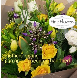 Handtied, full of scent including freesia, phlox, spray rose, lisianthus, tulips with mixed foliages.